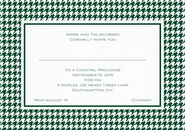 Classic landscape invitation card with modern bavarian frame, editable text and line for personal addressing. Green.