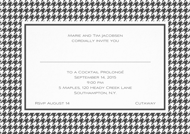 Classic landscape invitation card with modern bavarian frame, editable text and line for personal addressing. Grey.