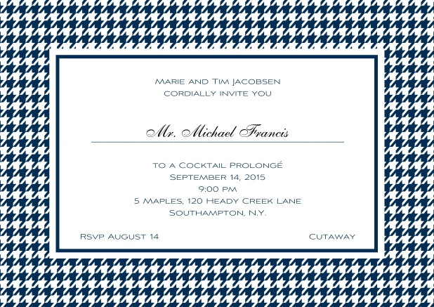 Classic landscape online invitation card with modern bavarian frame, editable text and line for personal addressing. Navy.