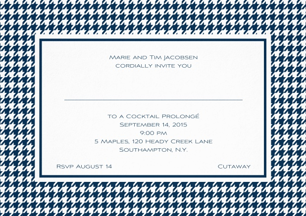Classic landscape invitation card with modern bavarian frame, editable text and line for personal addressing. Navy.