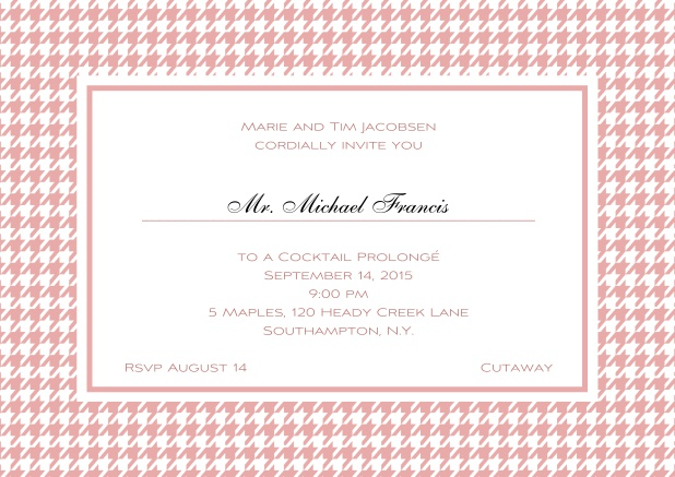 Classic landscape online invitation card with modern bavarian frame, editable text and line for personal addressing. Pink.