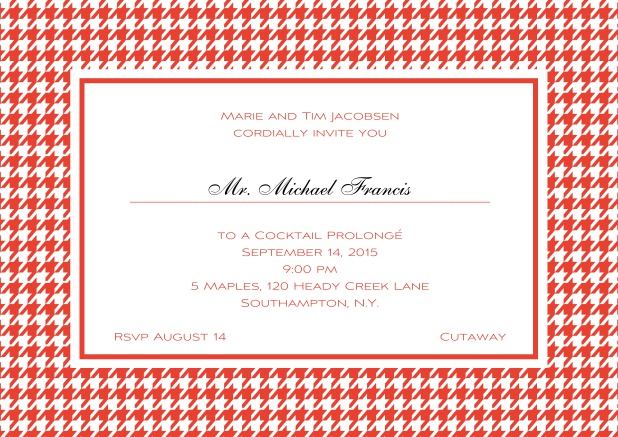 Classic landscape online invitation card with modern bavarian frame, editable text and line for personal addressing. Red.