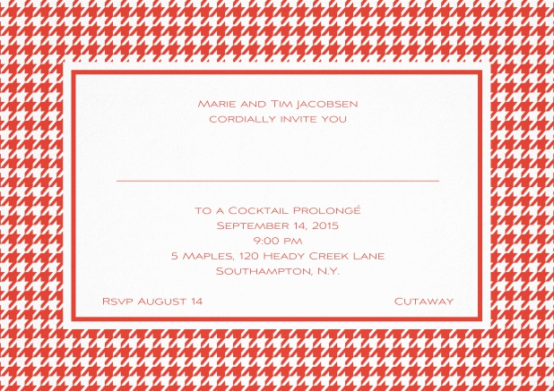 Classic landscape invitation card with modern bavarian frame, editable text and line for personal addressing. Red.