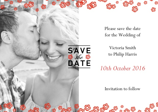Online Save the date card with photo and charming red flowers over the photo.