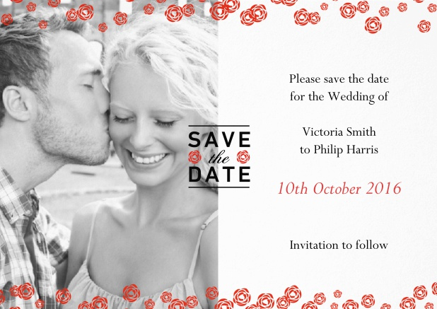 Wedding save the date card with photo and red flowers over the photo.