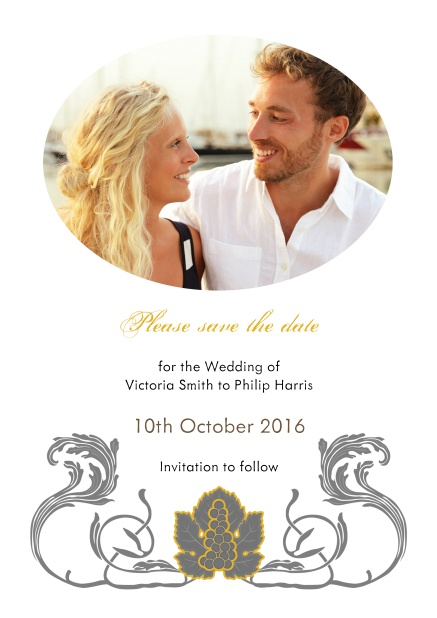 Online Wedding save the date with oval photo field and art-nouveau swirl deco.