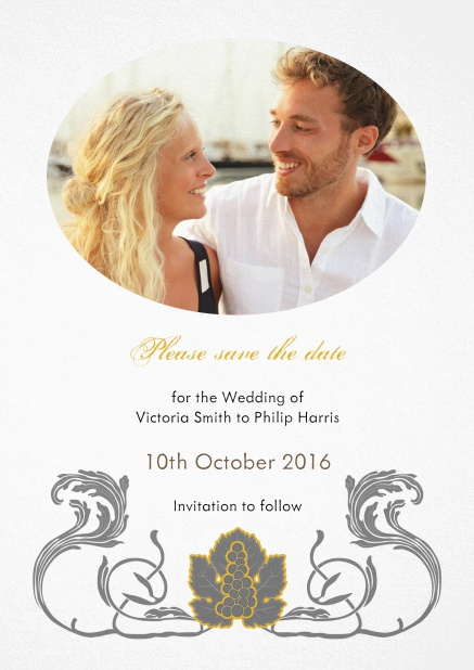 Wedding save the date with oval photo field and art-nouveau swirl deco.