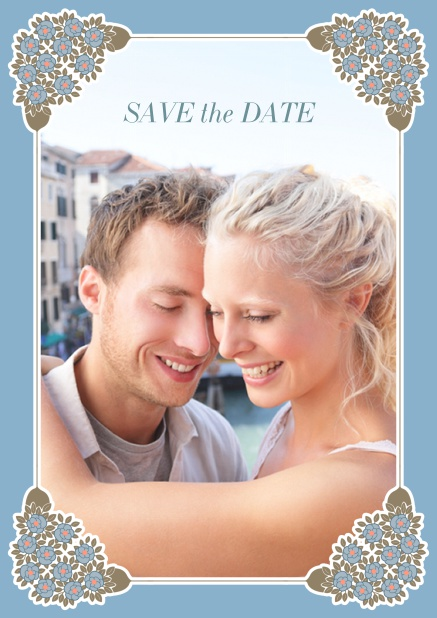 Online Wedding save the date with photo field on the front and art-nouveau ornament corners. Blue.