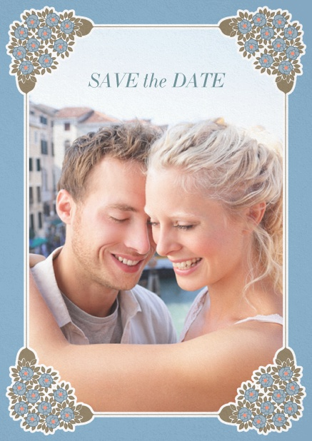 Wedding save the date with photo field on the front and art-nouveau ornament corners. Blue.