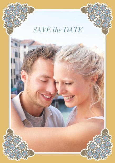 Online Wedding save the date with photo field on the front and art-nouveau ornament corners. Gold.