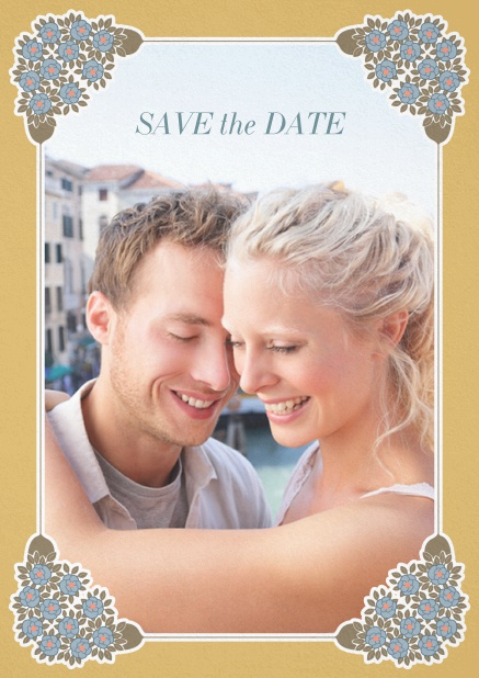 Wedding save the date with photo field on the front and art-nouveau ornament corners. Gold.
