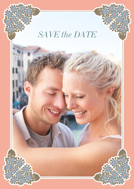 Online Wedding save the date with photo field on the front and art-nouveau ornament corners. Pink.