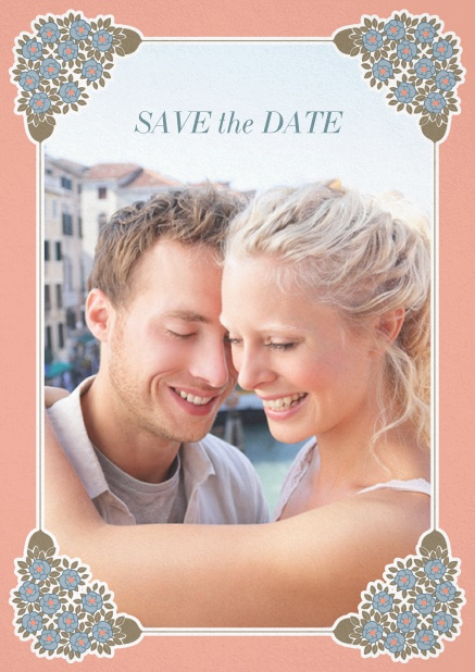 Wedding save the date with photo field on the front and art-nouveau ornament corners. Pink.