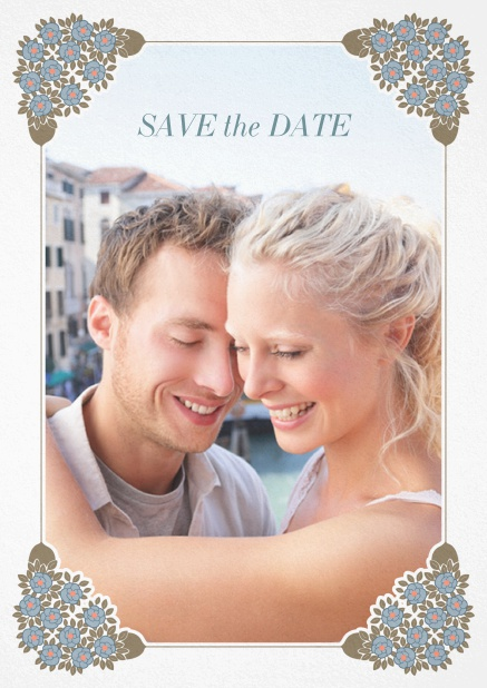 Wedding save the date with photo field on the front and art-nouveau ornament corners. White.
