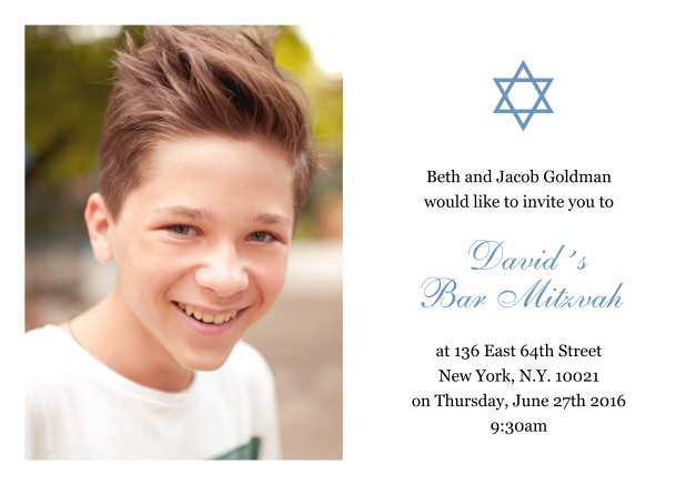 Online White Bar or Bat Mitzvah Invitation card with photo and Star of David in choosable colors. Blue.