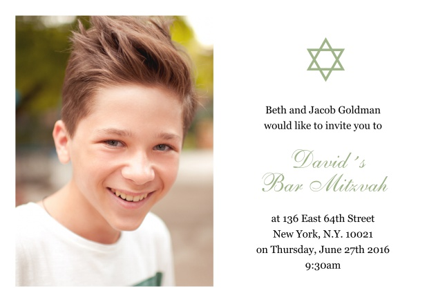 Online White Bar or Bat Mitzvah Invitation card with photo and Star of David in choosable colors. Green.