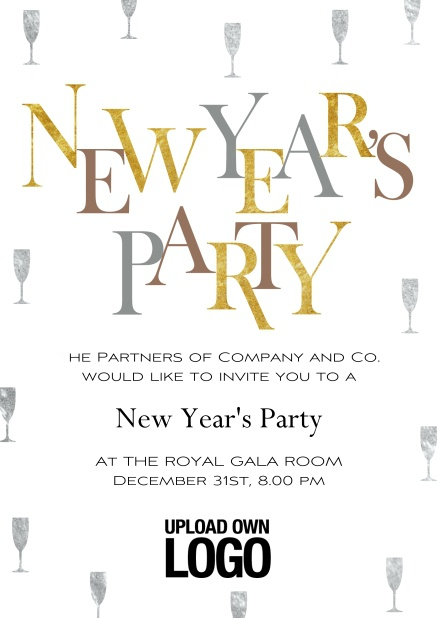 Online New Years Party invitation card with golden and silver text.