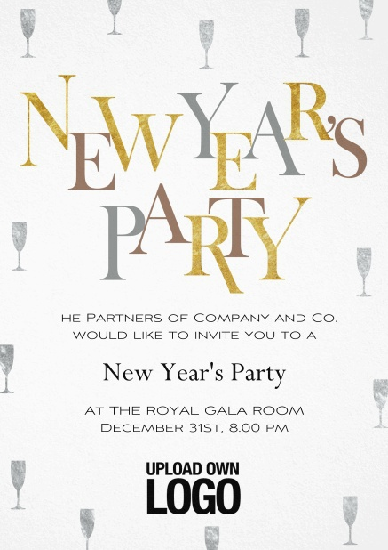 New Years Party invitation card with golden and silver text.