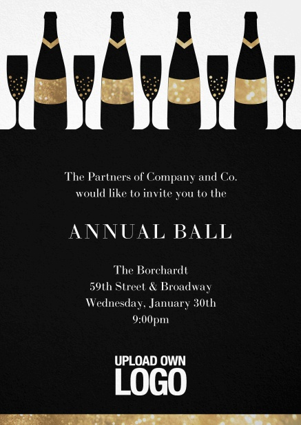 Cocktail invitation card design with wine glasses and bottles. Black.