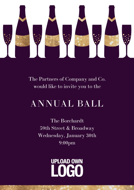 Online Cocktail invitation card design with wine glasses and bottles. Purple.