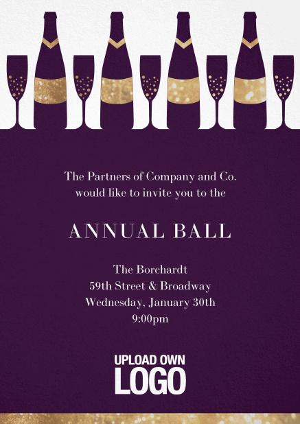 Cocktail invitation card design with wine glasses and bottles. Purple.