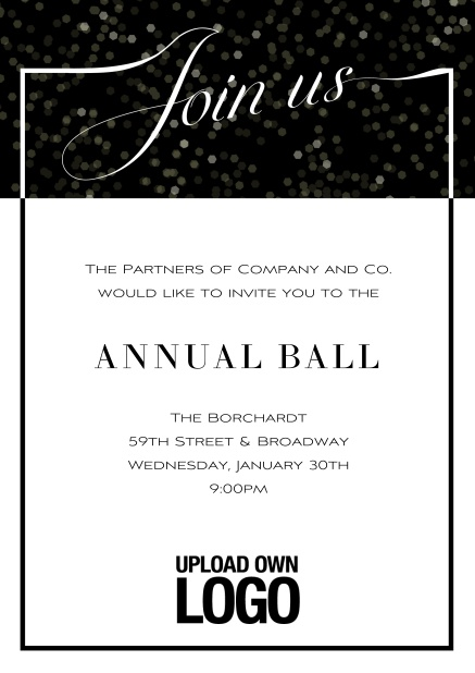 Online Cocktail invitation card with integrated Join us into the elegant frame. Black.