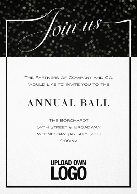 Cocktail invitation card with integrated Join us into the elegant frame. Black.