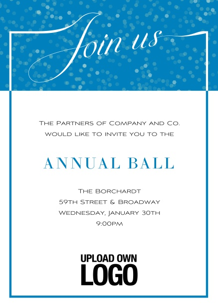 Online Cocktail invitation card with integrated Join us into the elegant frame. Blue.