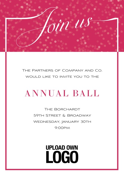 Online Cocktail invitation card with integrated Join us into the elegant frame. Pink.