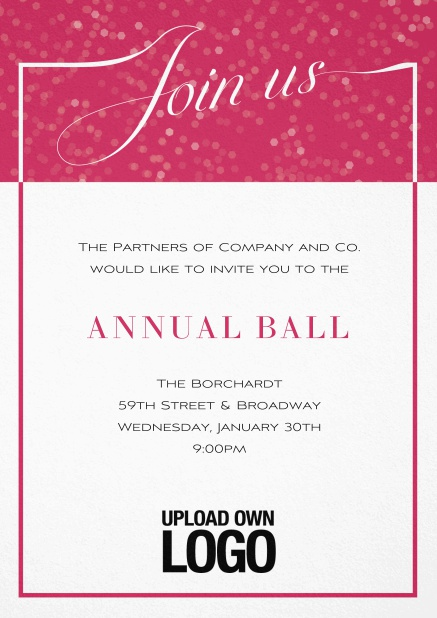 Cocktail invitation card with integrated Join us into the elegant frame. Pink.