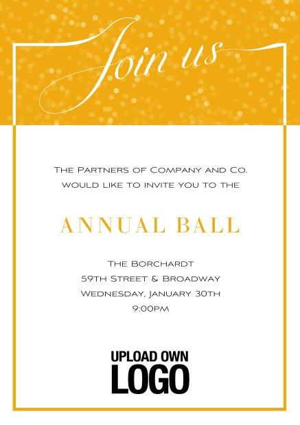 Online Cocktail invitation card with integrated Join us into the elegant frame. Yellow.