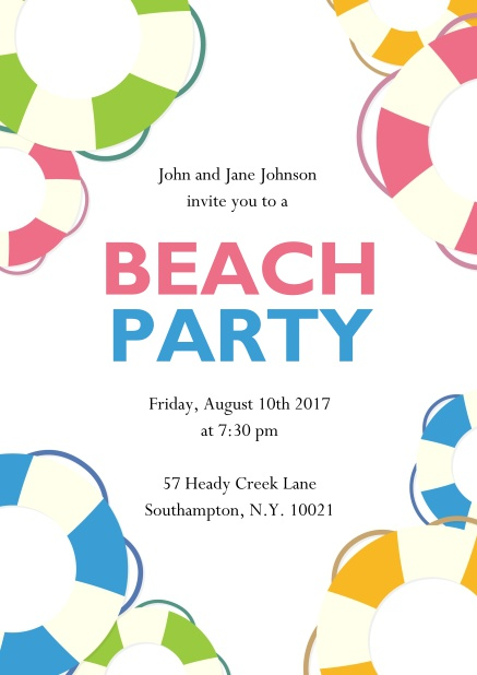 Online Beach Party invitation card with colorful beach balls