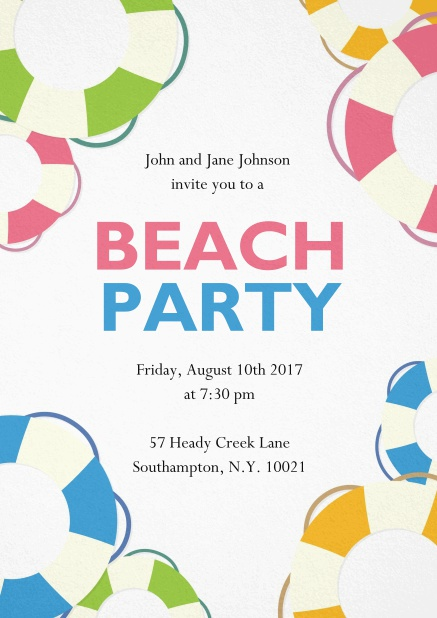 Beach Party invitation card with colorful beach balls