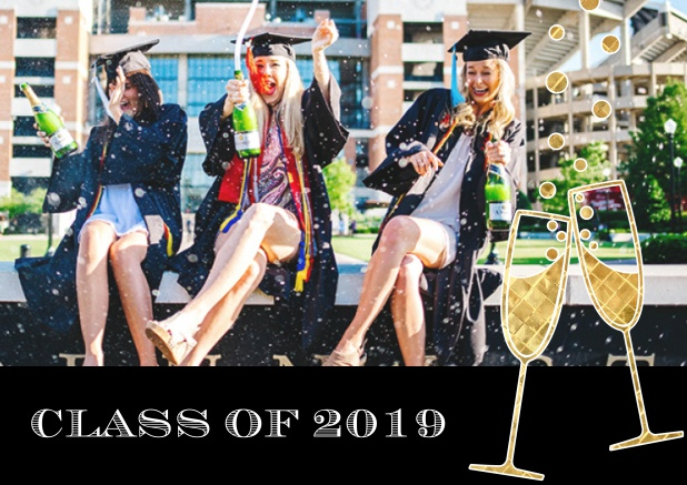 Class of 2019 graduation online invitation card with photo and champagne glasses. Black.