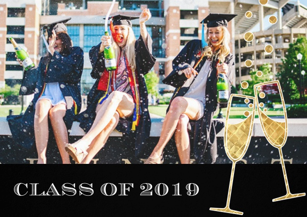 Class of 2019 graduation invitation card with photo and champagne glasses. Black.