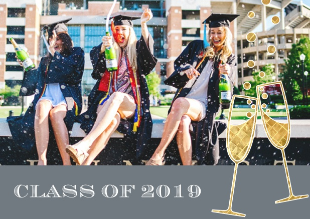 Class of 2019 graduation online invitation card with photo and champagne glasses. Grey.