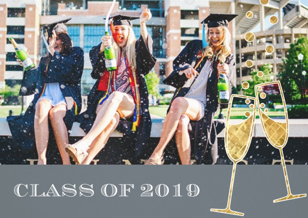 Class of 2019 graduation invitation card with photo and champagne glasses. Grey.