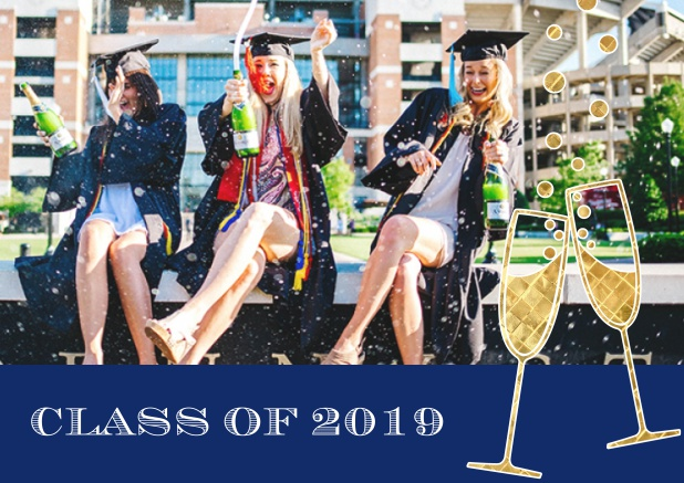 Class of 2019 graduation online invitation card with photo and champagne glasses. Navy.