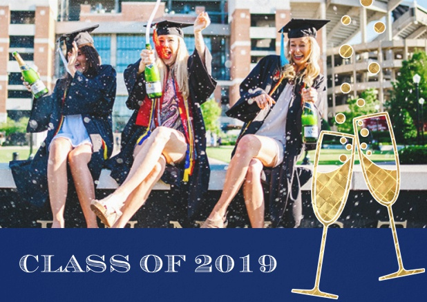 Class of 2019 graduation invitation card with photo and champagne glasses. Navy.