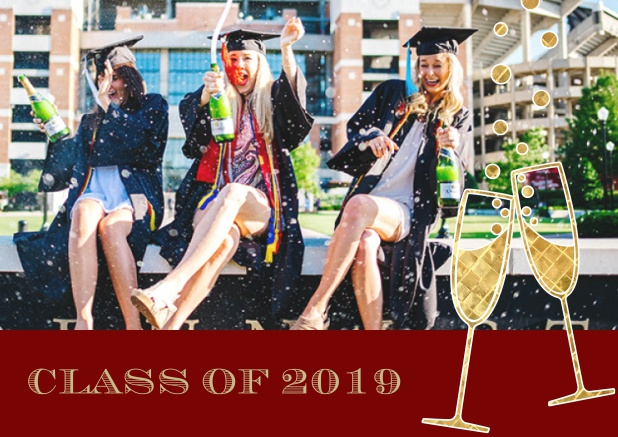 Class of 2019 graduation online invitation card with photo and champagne glasses. Red.