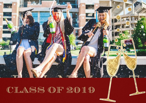 Class of 2019 graduation invitation card with photo and champagne glasses. Red.