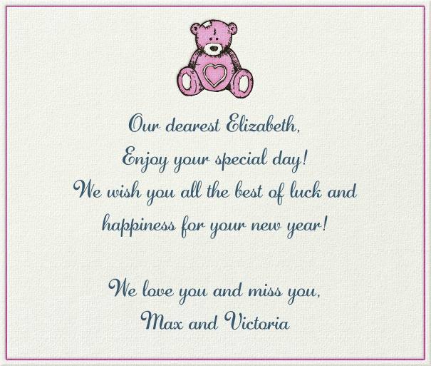 White Children's Card with Pink Bear.