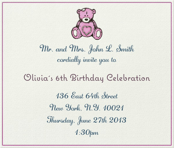 Square White and Pink Kids' Birthday Party Invitation Template with Pink Teddy Bear