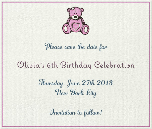 White Kids' Birthday Party Save the Date Card with Pink Teddy Bear.