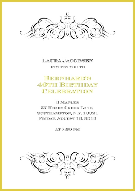 Online invitation with ornament on top and bottom for 40th birthday.
