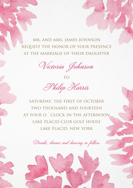 Wedding invitation Card with light pink flower frame and text in the middle.