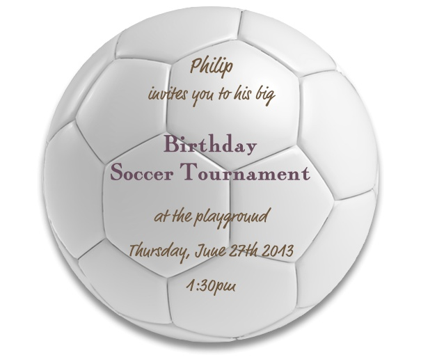 Round Football Sports Invitation card designed as a soccer ball.