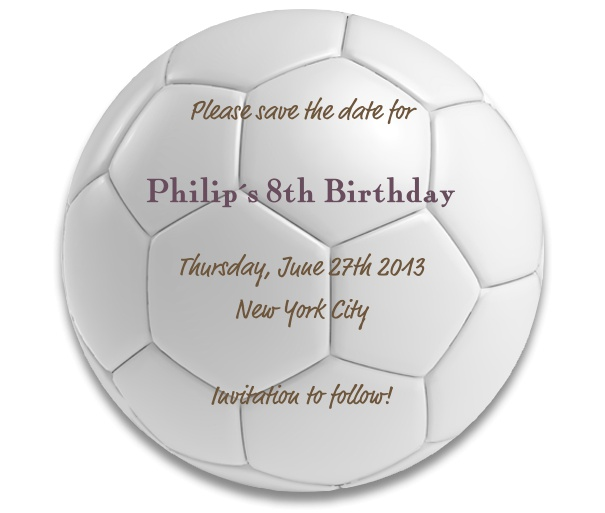 Football Themed Kid's Birthday Party Save the Date Card.