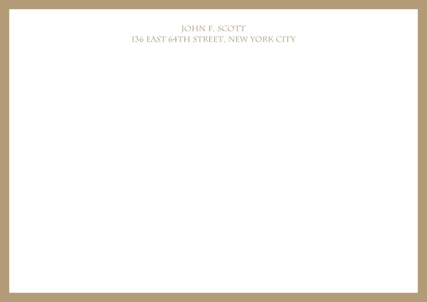 White online correspondence card with blue frame and text. Beige.