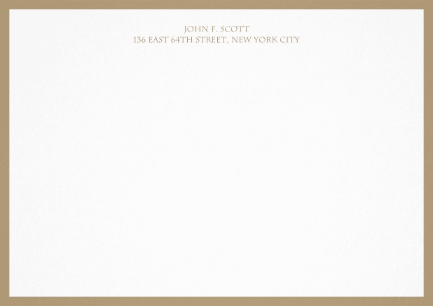 White correspondence card with blue frame and text. Beige.